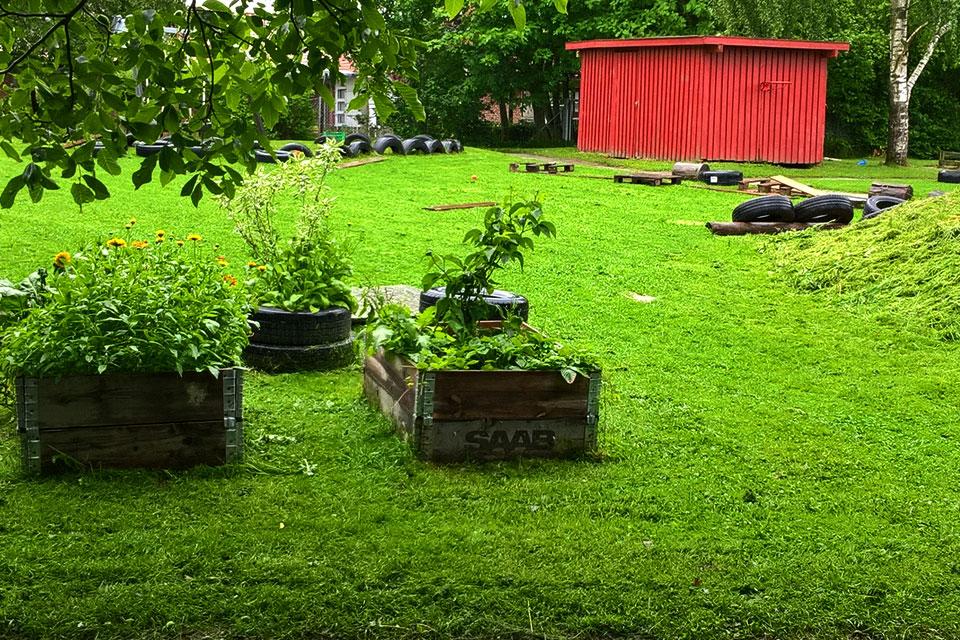 Огороды на площадке в детском саду