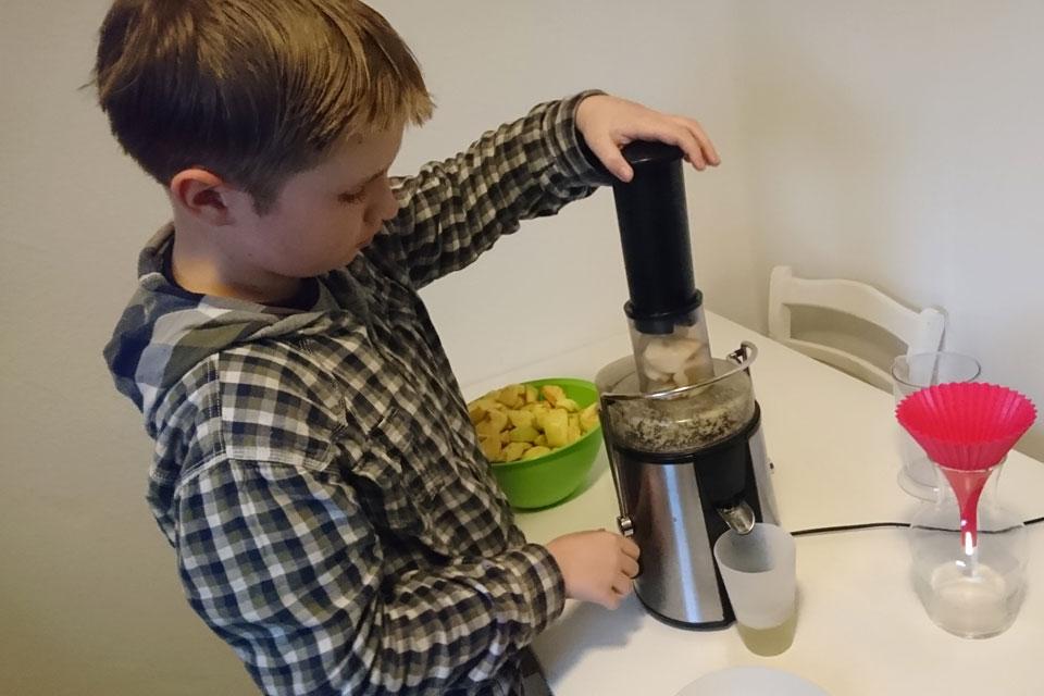 Мой сын помогает делать яблочный сок