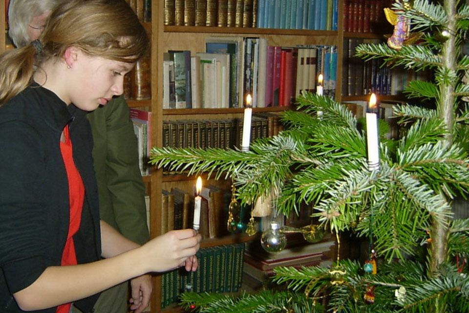 Моя дочка украшает датскую елку