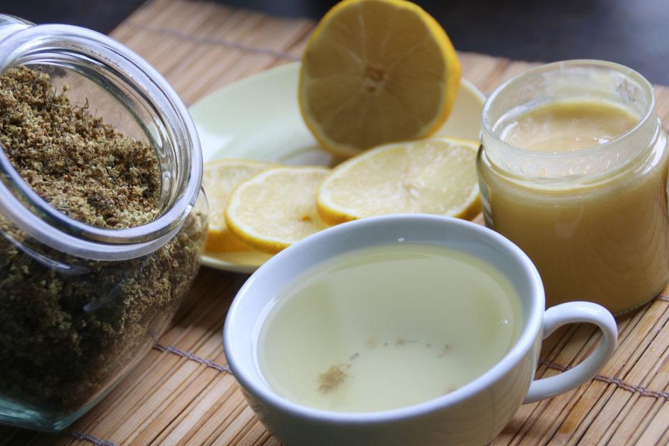 Сухие цветки бузины - чай с бузиной медом и лимоном