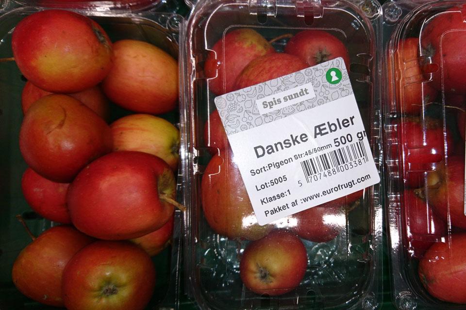 Сорта яблок в магазинах Дании: Пиджеон (Pigeon)