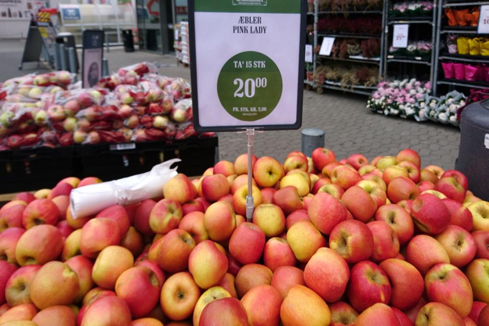 Сорта яблок в магазинах Дании: Пинк Леди - Pink Lady