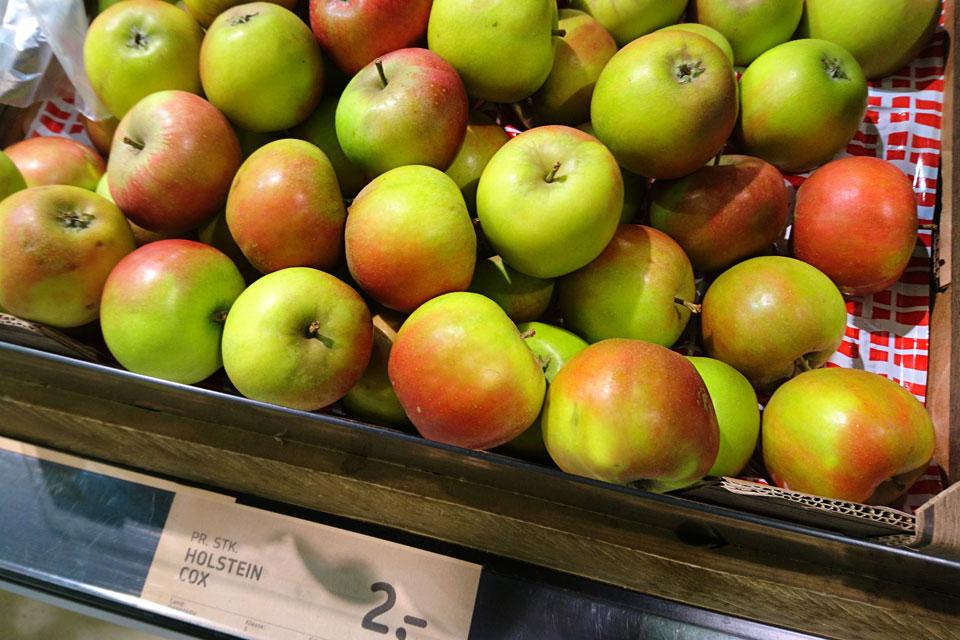 Сорта яблок в магазинах Дании - Холстейн Кокс (Holstein Cox)