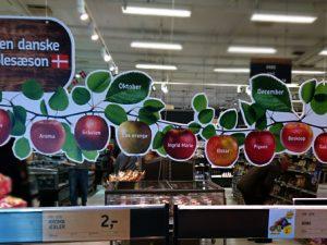 Сорта яблок в магазинах Дании
