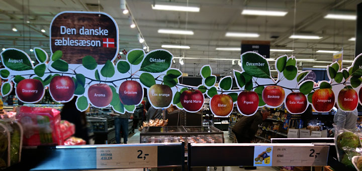 Сорта яблок в магазинах Дании apples in denmark www.florapassionis.com