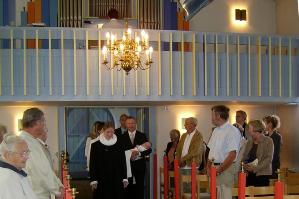 На церемонию крещения мы заходили в церковь под звуки органа