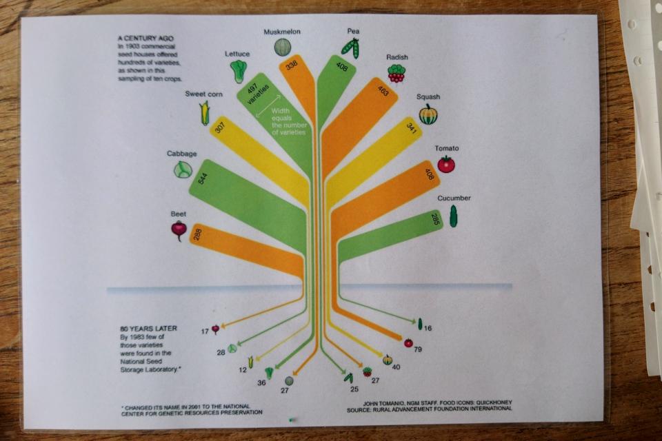 Уменьшение разнообразия сортов культурных растений в Англии в течении 80 лет