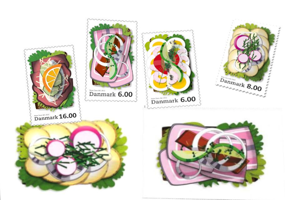 Смёрребрёд на открытках и почтовых марках, выпущенных в Дании в 2012 году