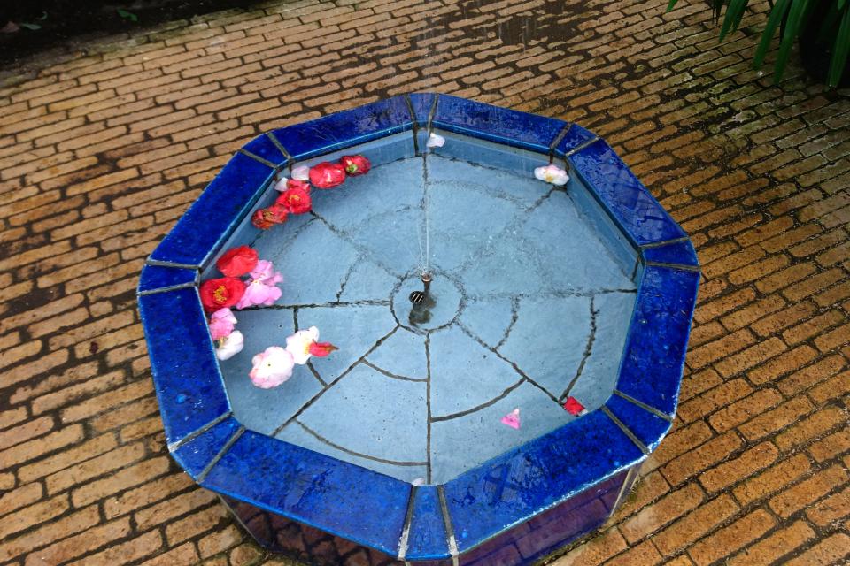 Фонтанчик со звуками журчащей воды и опадающими цветами японских камелий