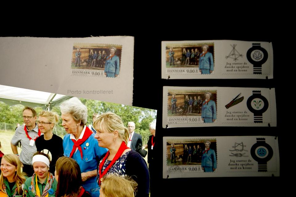 Фотография Бенедикты и почтовые марки с ее изображением