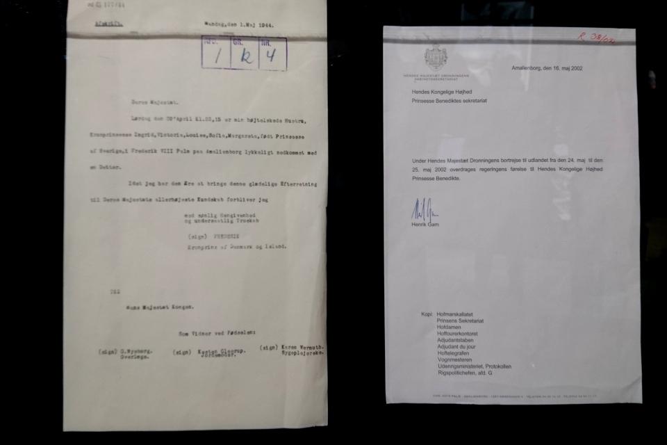 Документы, свидетельствующие о рождении датской принцессы Бенедикты в 1944 году