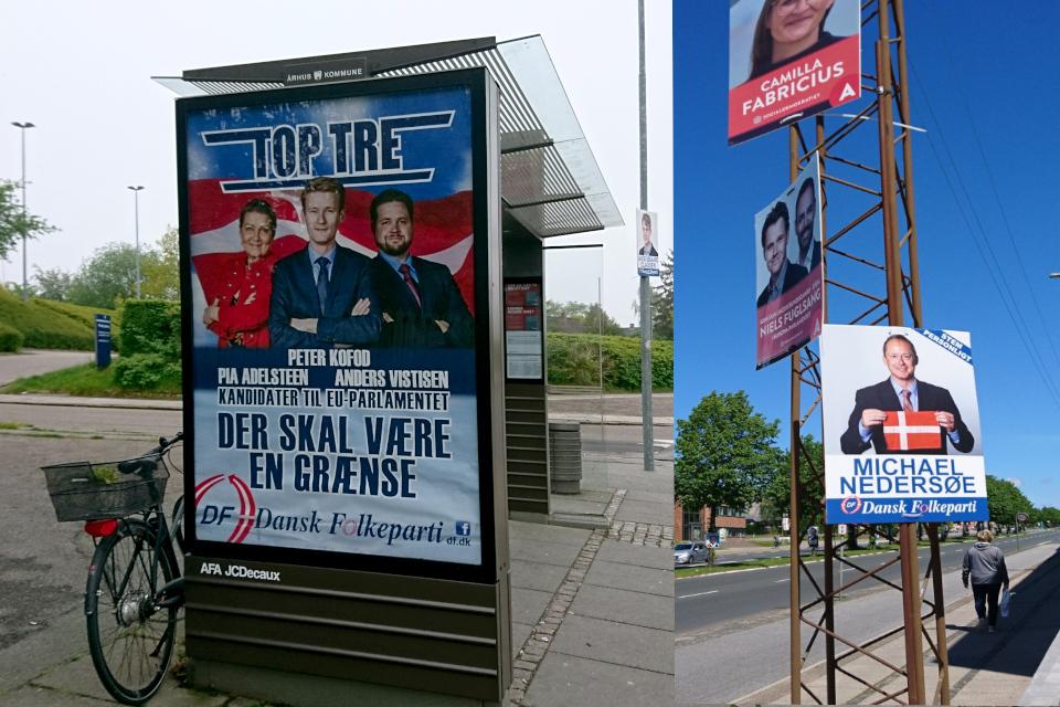 Политическая реклама в избирательной кампании ДНП на фоне датского флага