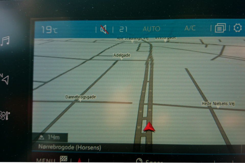 Улица флага Даннеброг (дат. Dannebrogsgade) на навигаторе машины GPS Хорсенс, Дания