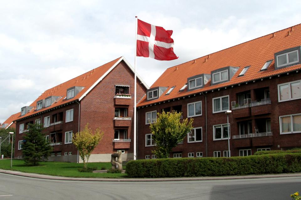 Флаг Даннеброг на высоком флагштоке возле жилищных комплексов