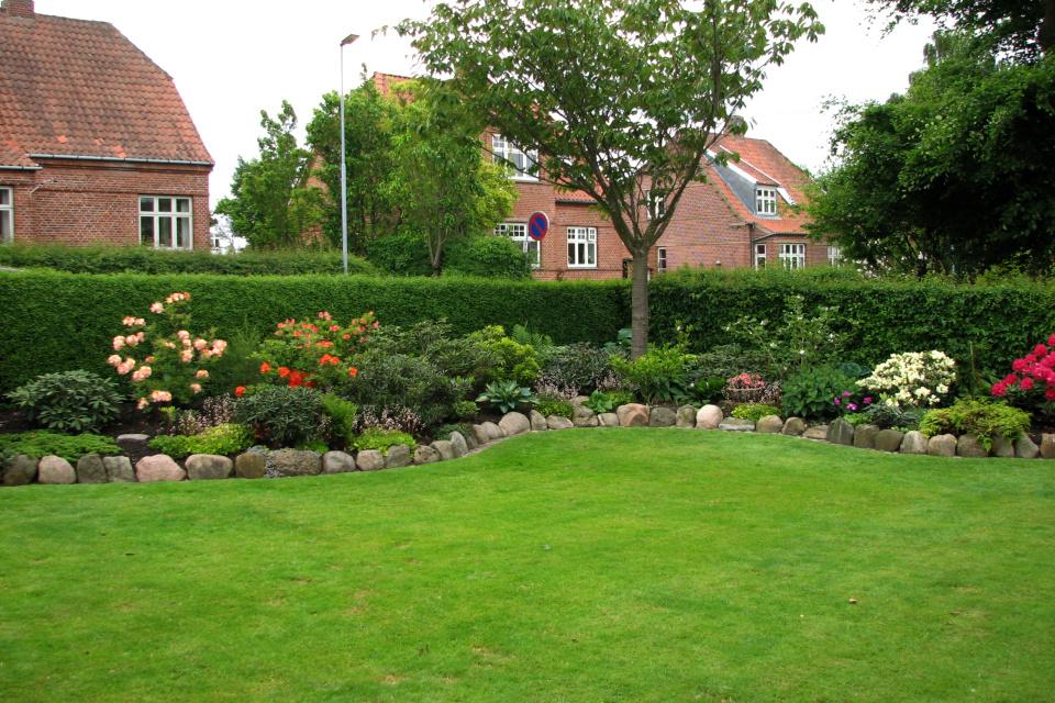 Клумбы с рододендронами и азалиями по по краям сада