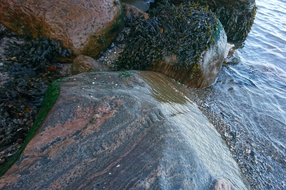 Лунный камень, надпись на которой уже почти стерта под воздействием морских волн