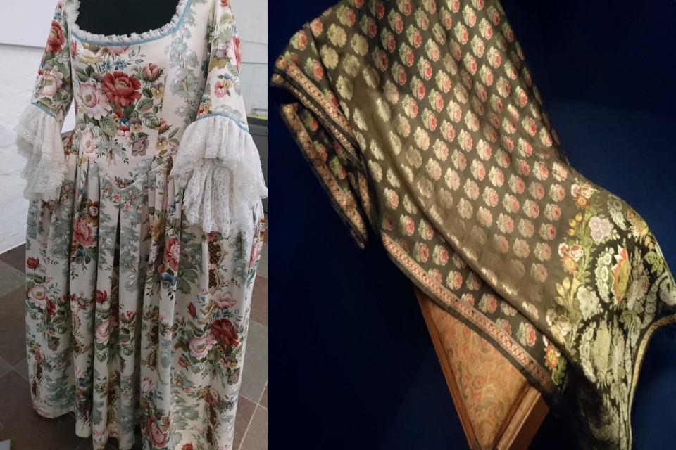 Платье королевы Каролине Матильде и шелковая шаль с розами знатной дамы