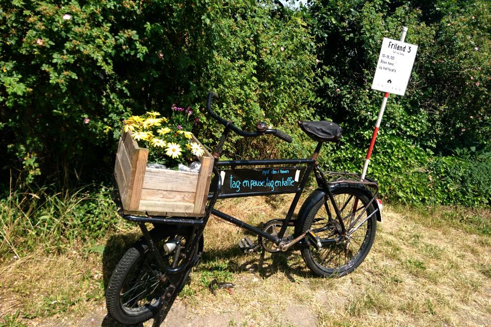 Велосипед - указатель кафе, Фриланд / Friland, Дания