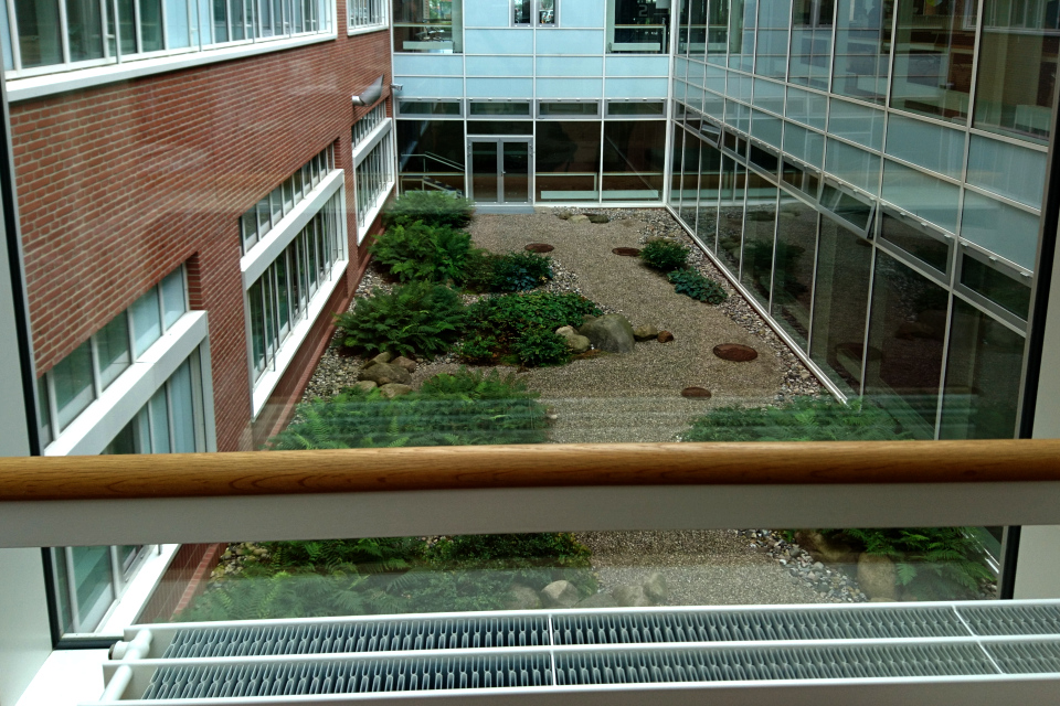 Вид на дворик с другой стороны. Фото 1 сент. 2019, Университетская больница г. Орхус