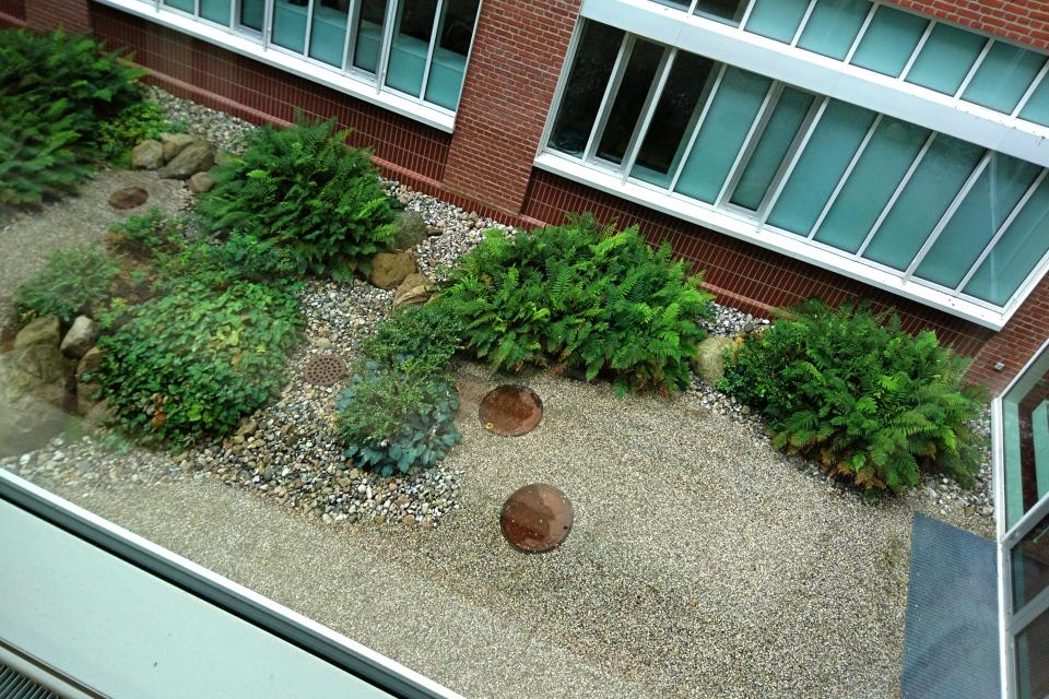 Вид на дворик со 2-го этажа. Фото 1 сент. 2019, Университетская больница г. Орхус