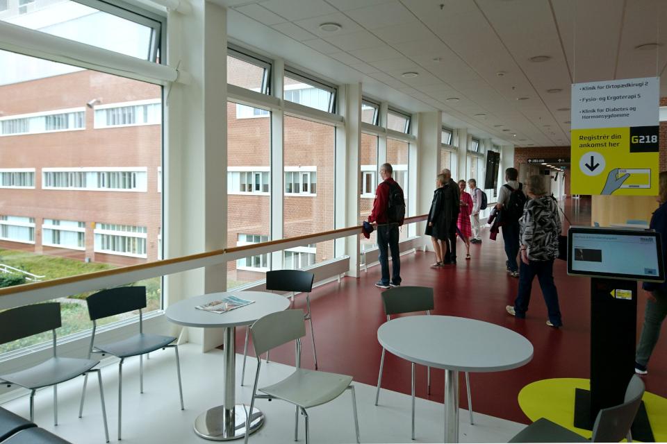 Вид на внутренние сады со второго этажа, Университетская больница г Орхуса