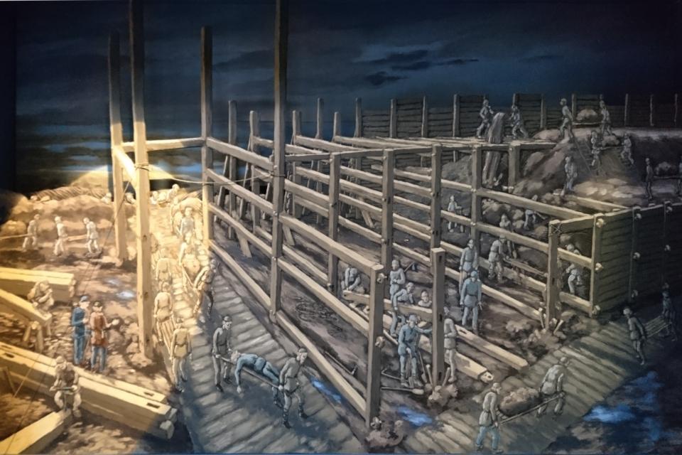 Рисунок, изображающий строительство земляного вала крепости Аггерсборг