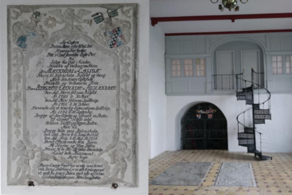 Мемориальная плита на стене капеллы церкви церкви Бьорнхольм (Bjørnsholm Kirke)
