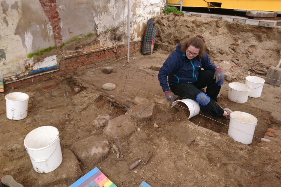 Открытая археология в Скандерборге, раскопки фундамета. Фото 17 окт. 2019