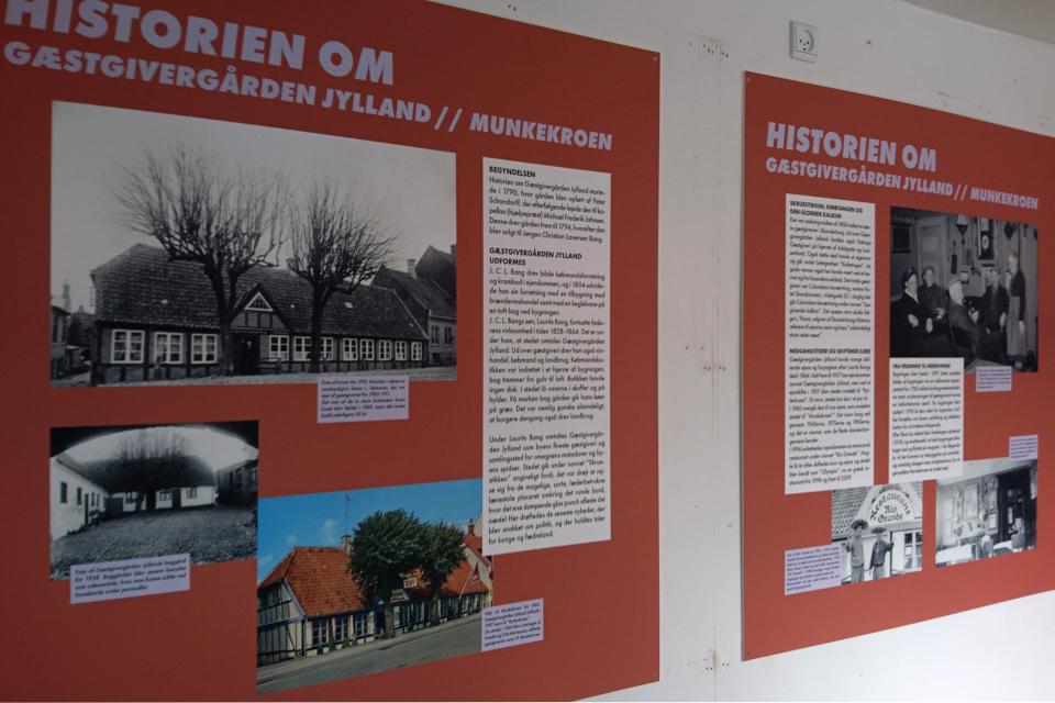 Фотографии бывшей гостиницы Munkekroen во временном музее в контейнере
