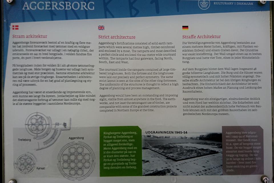 Информационный указатель со схемами трех кольцевых крепостей викингов