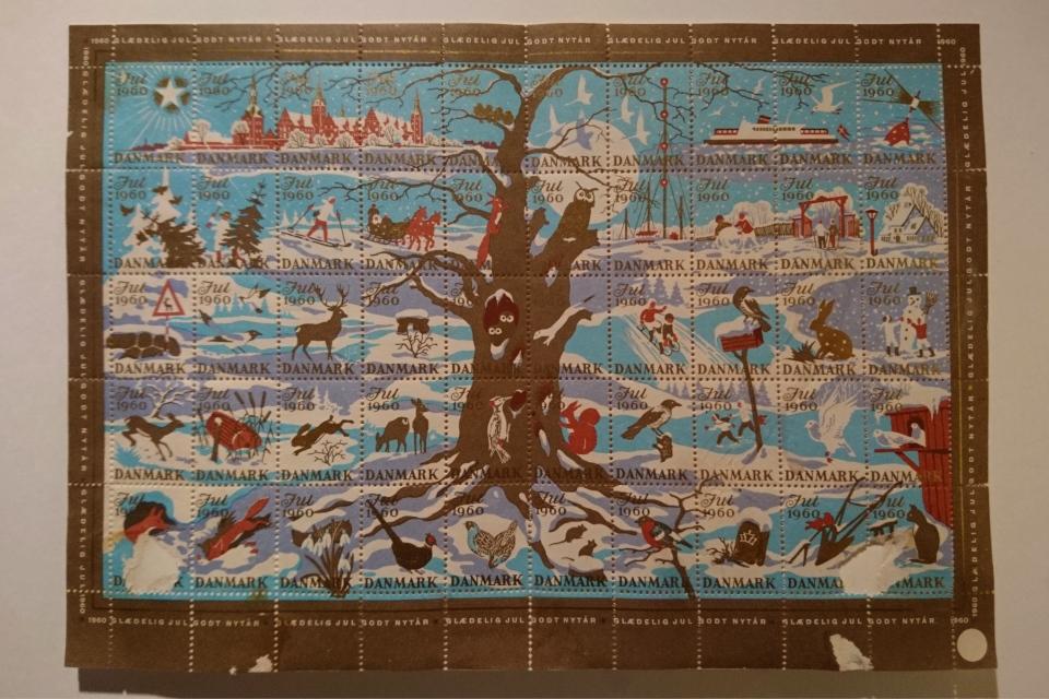 Достопримечательности и природа Дании на рождественских марках 1960 г.