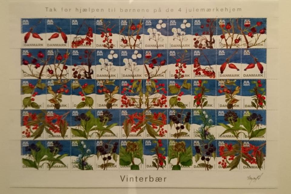 Зимние ягоды на рождественских почтово-благотворительных марках