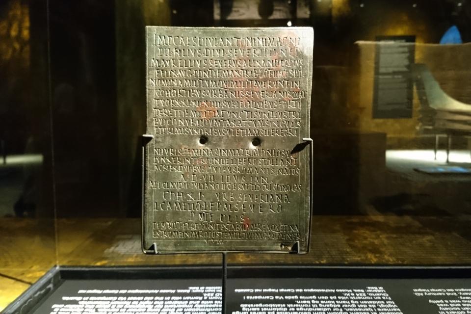 Диплом солдата с текстом, выбитым на листе бронзы. Рим, 224 г. до н. э.