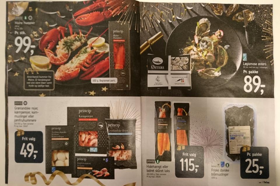 Реклама продуктов питания для Новогоднего ужина: устрицы, раки, мидии, креветки