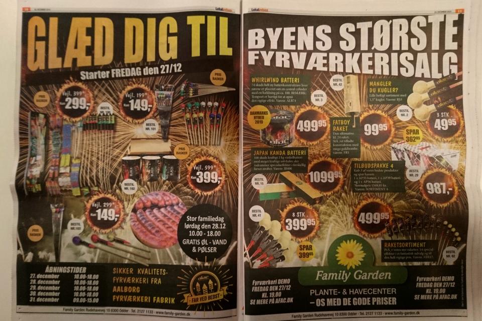 Реклама фейерверков. Фото из местной газеты 27 дек. 2019
