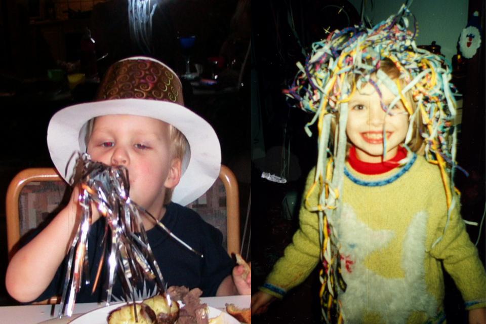 Новогодние шляпки. Фото 31 дек. 2005, г. Тильст и 31 дек. 1999, г. Брабранд, Дания