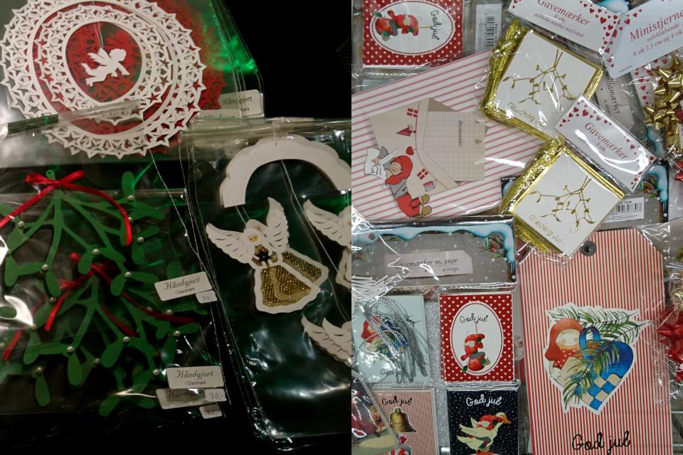 Веточка омелы, вырезанная из картона и подарочные этикетки