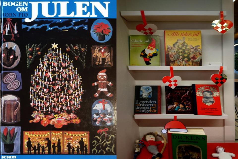 Выставка книг на тему РОждества в библиотеке и книга про Рождество в Дании